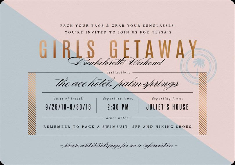 Girls Getaway Invitations Greenvelope Com