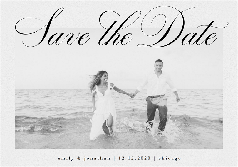 Classic Meets Modern Script Save The Dates in White