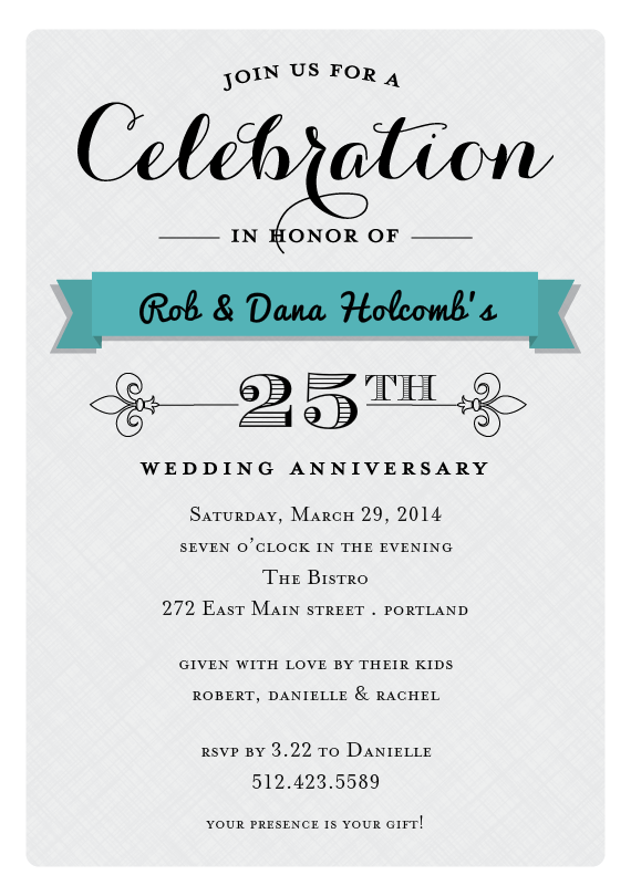Email Online Anniversary Invitations that WOW – 25th Anniversary Party Invitations