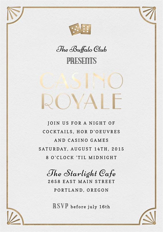 Casino Royale Invitations in Creme – Casino Royale Party Invitations