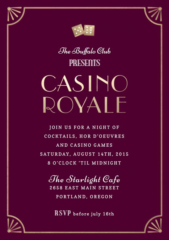 Casino night party invitation wording invitations