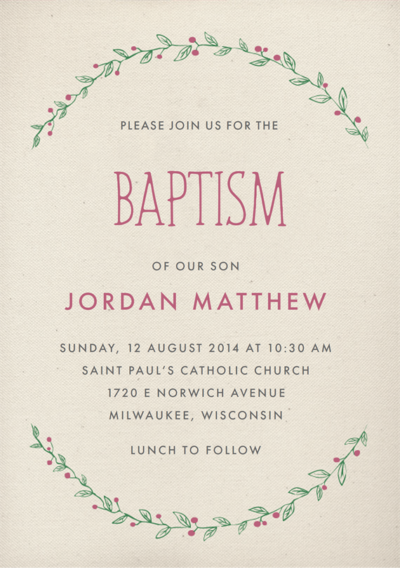 Email online baptismcommunion invitations that wow greenvelope stopboris Choice Image