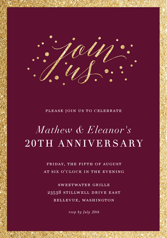 Email Online Anniversary Invitations That Wow Greenvelope Com