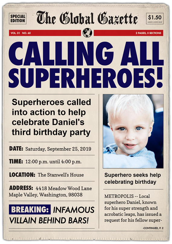 Calling All Superheroes Invitations Greenvelopecom