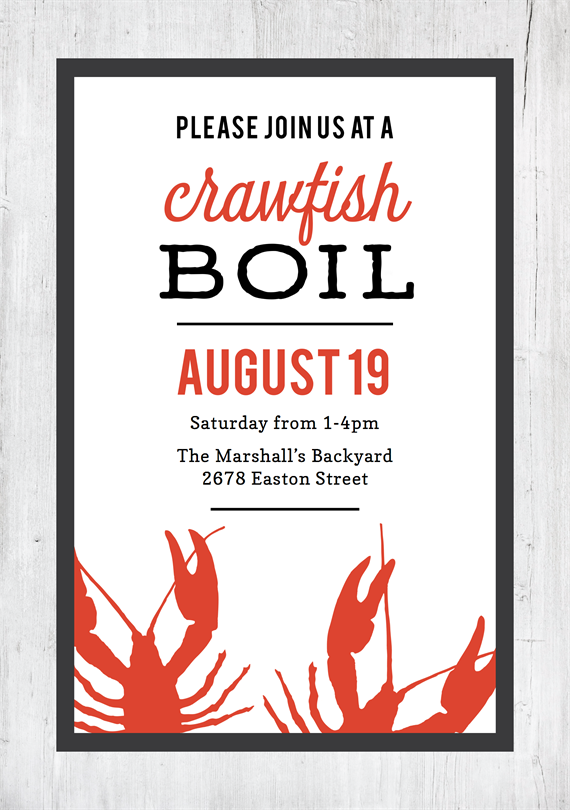 picture about Crawfish Boil Invitations Free Printable named Crawfish Boil Invites in just Crimson