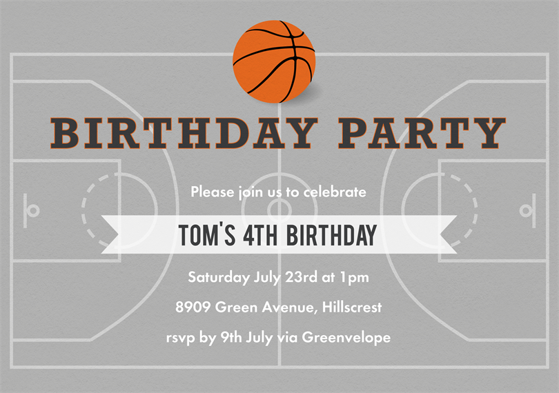 basketball party invitations in blue greenvelopecom - Basketball Party Invitations