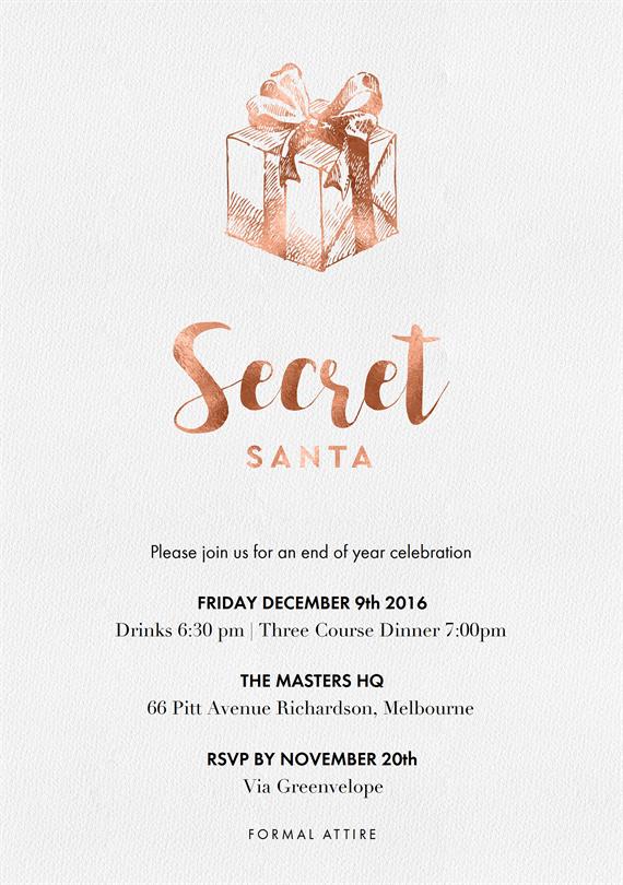 secret santa invitation template