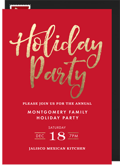 Simple Holiday Party Invitations In Blue