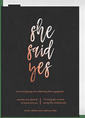 She Said Yes Invitations Greenvelopecom