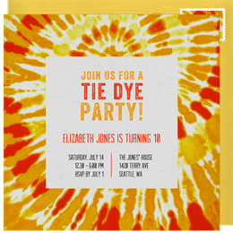 groovy tie dye invitations in orange greenvelope com
