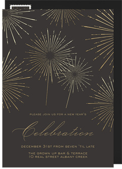 shimmery fireworks invitation in gold
