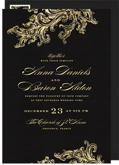 Wedding invitations greenvelope french filigree invitation in black junglespirit Image collections
