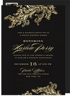 french filigree invitation in black