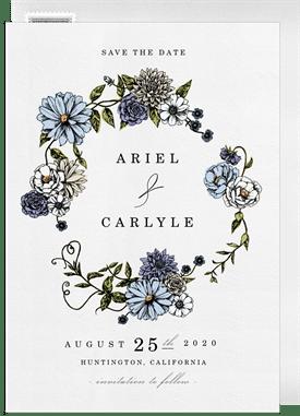 Romantic Floral Border Invitations In Blue