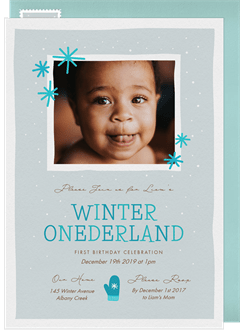 winter onederland invitation in blue - Winter Onederland Party Invitations