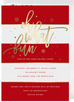 Holiday party invitation designs greenvelope modern holiday stripes invitation in red stopboris Image collections
