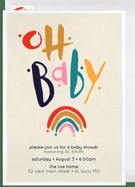 0bcda614556 Baby Rainbow Invitation in Creme