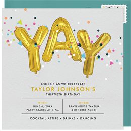 Confetti Celebration Invitation In Gold