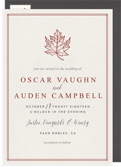 Wedding invitations greenvelope classic maple leaf invitation in creme filmwisefo