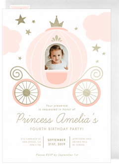 Princess Carriage Invitation In Pink