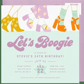 Lets Boogie Invitation In Purple
