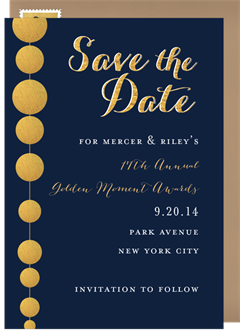 Business save the dates greenvelope golden beads save the date in gold flashek Gallery