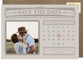 Clic Calendar Save The Date In Creme