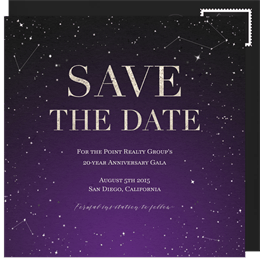 Business save the dates greenvelope galaxy gala save the date in purple accmission Gallery