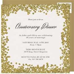 Email online anniversary invitations that wow greenvelope glitter paint invitation in gold stopboris Images