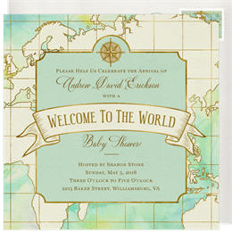 Baby shower invitation designs greenvelope welcome to the world invitation in blue filmwisefo
