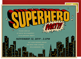 Superhero Party Invitation In Red