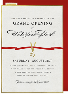 Ribbon cutting invitations greenvelope ribbon cutting invitation in red stopboris
