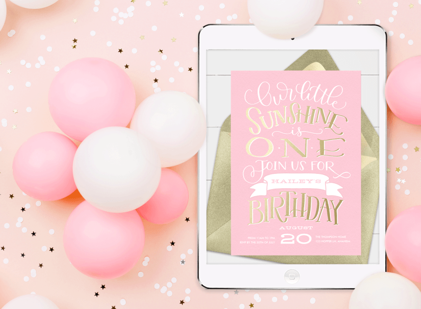 Watercolor Baby Girl/'s First Birthday Invitation