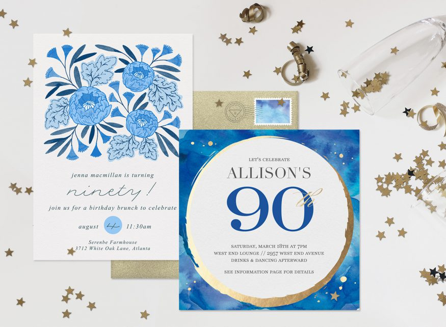 90th birthday invitations: Blue and white design