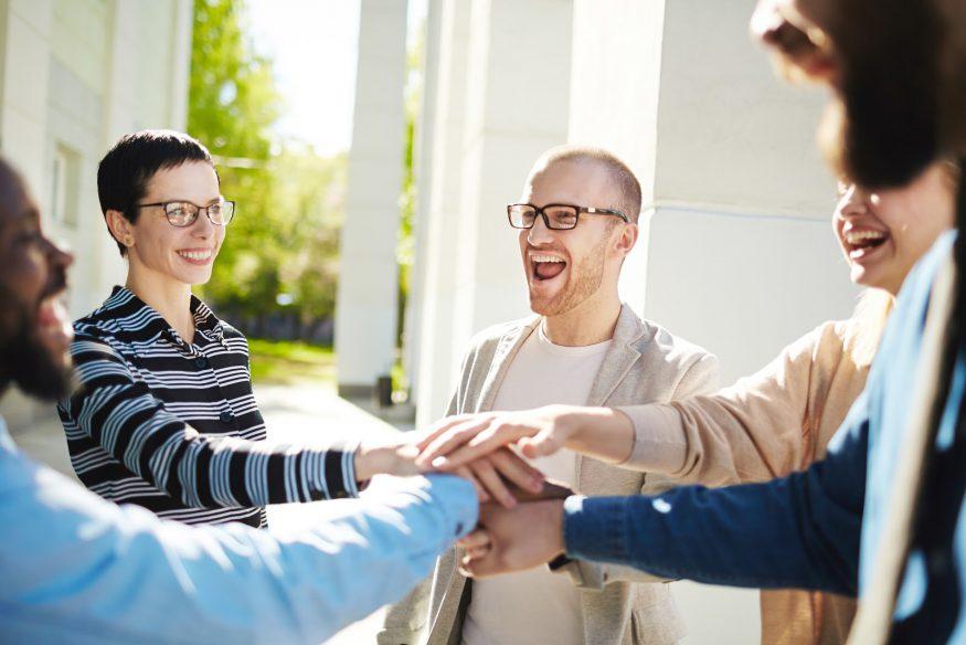 Corporate event ideas: A team huddle