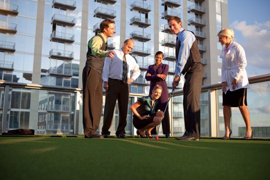 Corporate event ideas: A rooftop putt-putt event