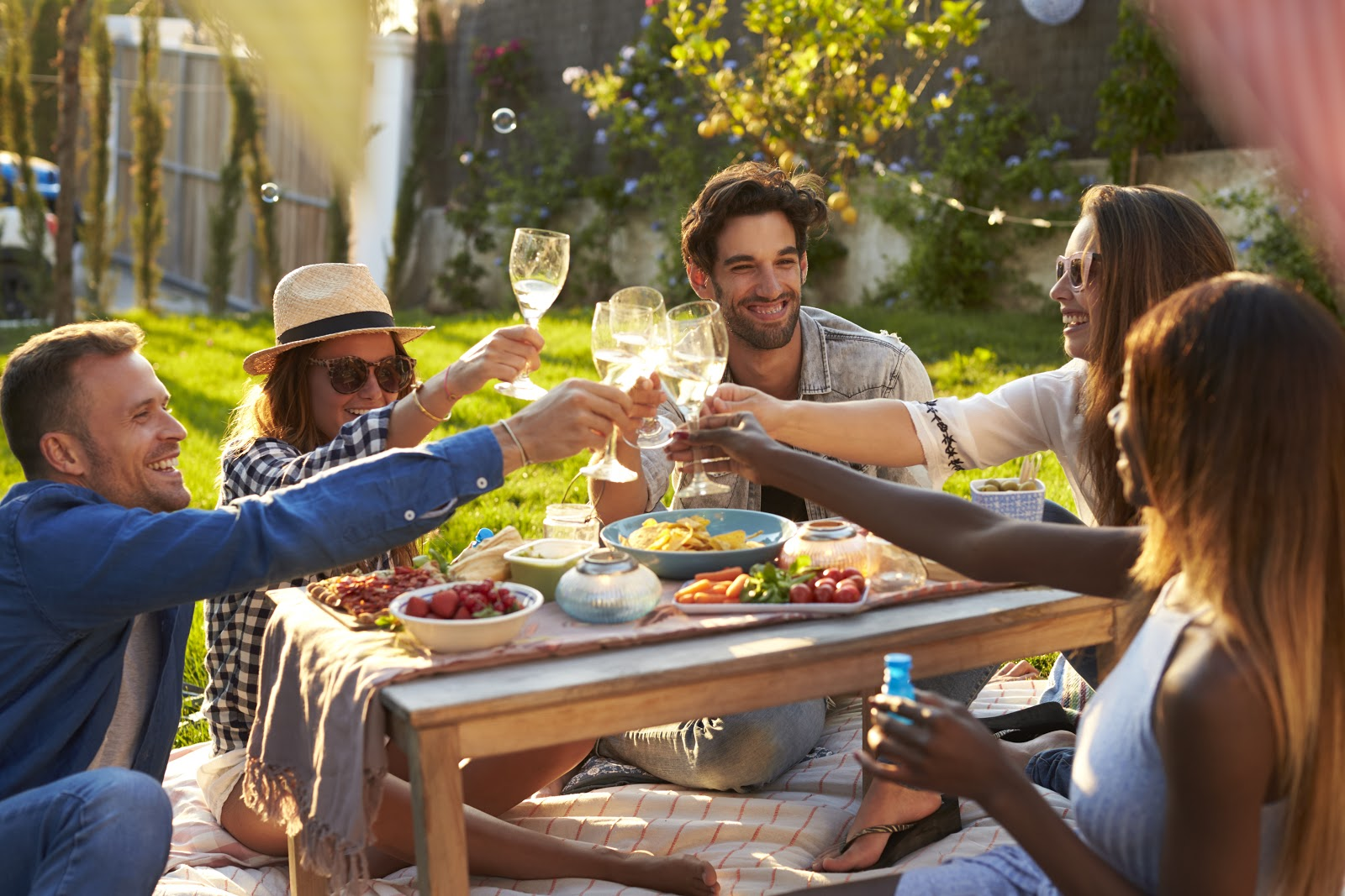 backyard picnic ideas: A group of friends raising their glasses in a toast