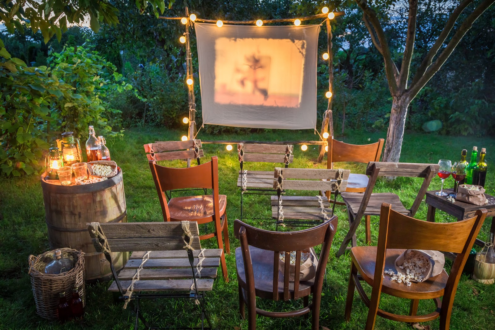 An outdoor movie night setup in the garden