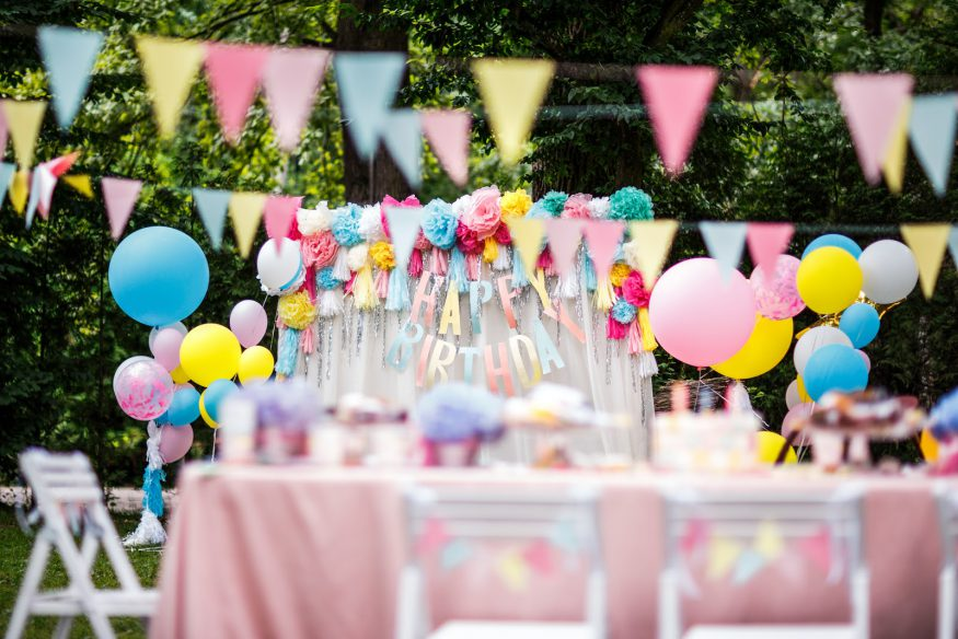 Things to do on your birthday: A garden party with balloons and banners