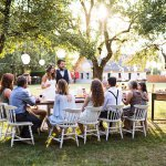 Small wedding ideas: A backyard reception with only one family-size table of guests