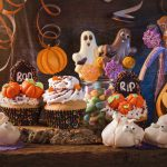 Halloween party food: A table of sweets and desserts
