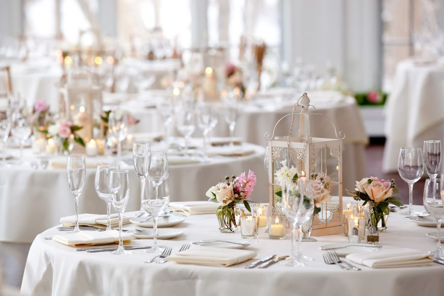 Place settings at a formal event