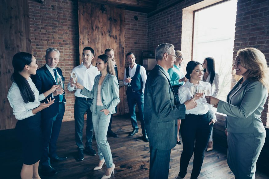 Corporate event ideas: Coworkers at a gallery opening