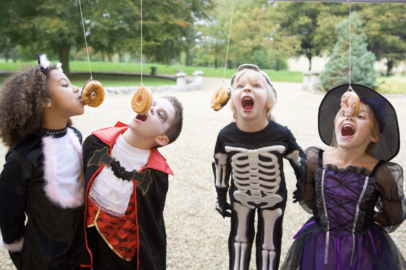 Children enjoy fun Halloween themed party games while in costume.
