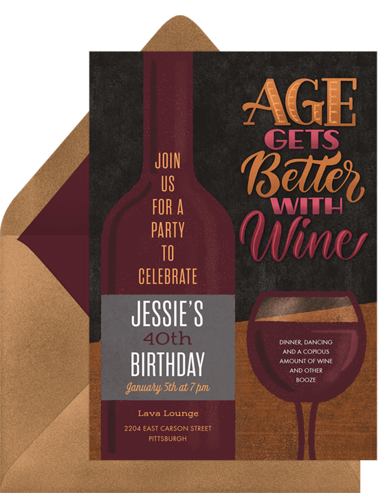 Fall birthday party ideas: Better With Wine Invitation