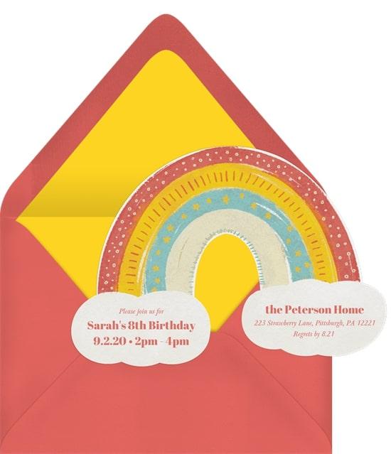 Rainbow birthday party: Boho Rainbow Invitation
