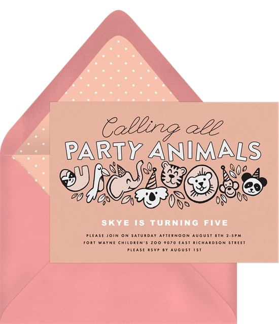 Calling All Party Animals Invitation