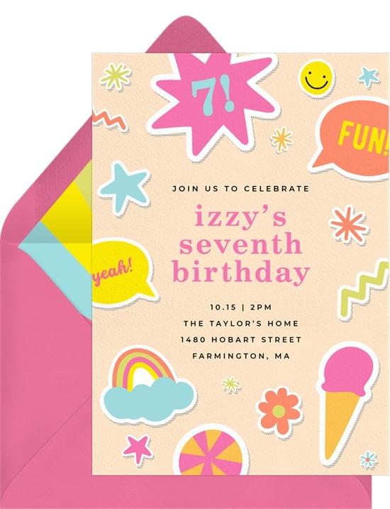 Rainbow birthday party: Cheery Stickers Invitation