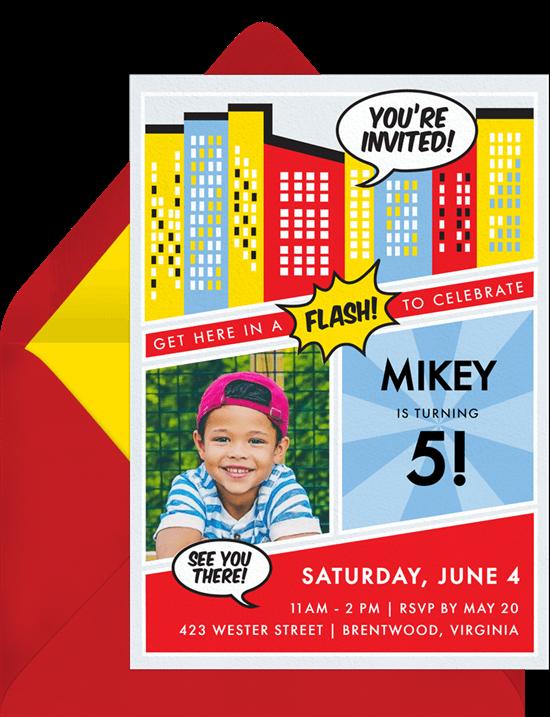 Superhero birthday party: Comic Book Invitation