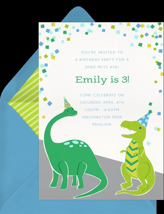 Confetti-saurus Birthday Invitation